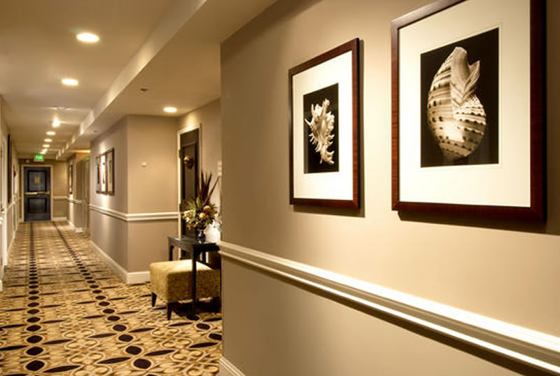 Luxury Boutique Interior Design Mosaic Hotel Beverly Hills Los Angeles Hallway Wall Decor